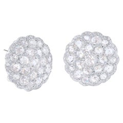 64Facets Large Shield Shape Rose Cut Diamond Cluster Stud Earrings in White Gold