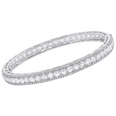 64Facets Linear Rose Cut Diamond Bangle Bracelet in 18K White Gold, 9.5 Carat