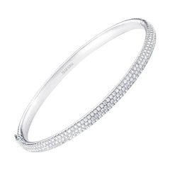64Facets Pave Diamond Bangle Bracelet in 18 Karat White Gold, 2.75 Carat