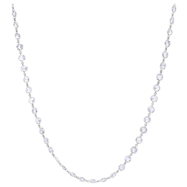 64Facets Rose Cut Diamond and Platinum Chain Necklace, 15 Carat For Sale