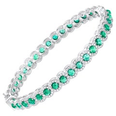 64Facets Rose Cut Emerald and Diamond Bangle Bracelet in 18 Karat White Gold
