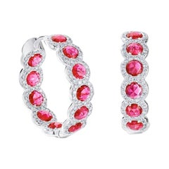 64Facets Rose Cut Ruby and Diamond Hoop Earrings in 18 Karat White Gold