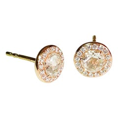 64Facets Round Rose Cut Diamond Stud Earrings in Yellow Gold