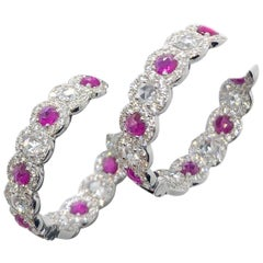 64Facets Ruby and Diamond Hoop Earrings in 18 Karat White Gold