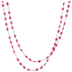 64Facets Ruby Cabochon Bead and Rose Cut Diamond Long Necklace in 18K White Gold