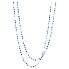 64Facets Sapphire Cabochon Bead and Rose Cut Diamond Necklace in 18K White Gold