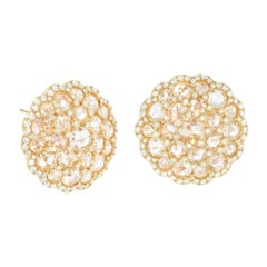 64Facets Shield Shape Rose Cut Diamond Cluster Stud Earrings in Yellow Gold