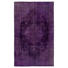 6.4x10 Ft Vintage Turkish Hand-made Medallion Wool Area Rug Over-dyed in Purple