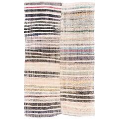 6.4x10 Ft Vintage HandWoven Cotton Anatolian Kilim Rug, FlatWeave Floor Covering