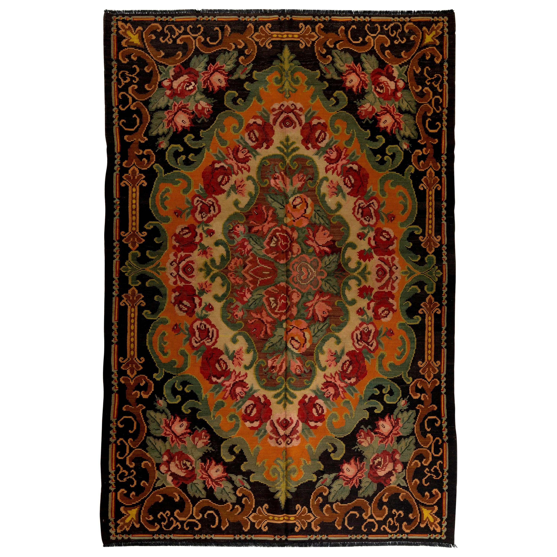 6.4x9.7 Ft Vintage Bessarabian Kilim, Floral Handwoven Wool Rug from Moldova