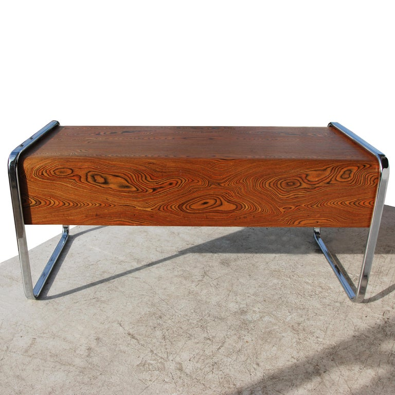 North American 1970s Peter Protzman for Herman Miller Zebrawood Executive Desk For Sale