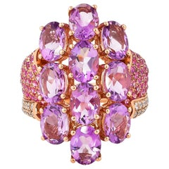 6.5 Carat Amethyst, Pink Sapphire and Diamond Ring in 14 Karat Rose Gold