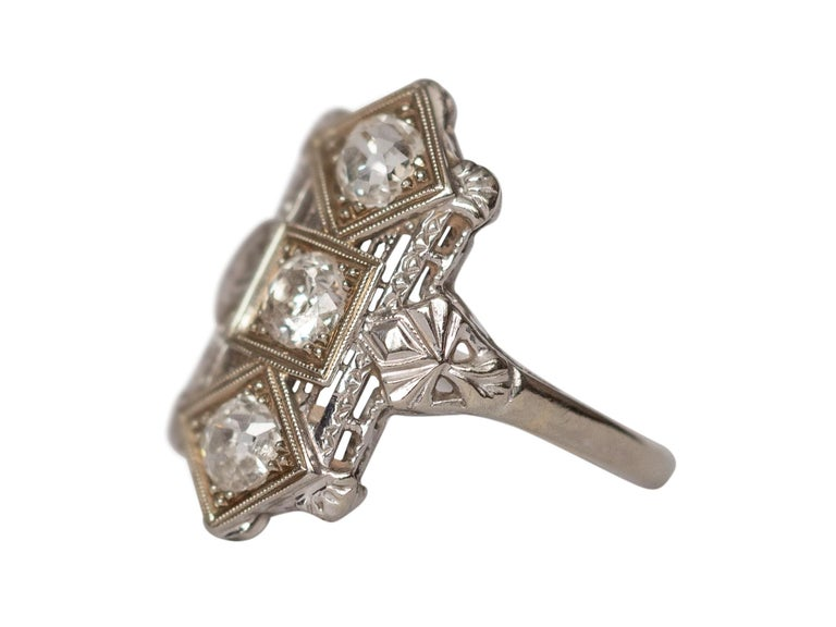 Item Details:  Ring Size: 6 Metal Type: 18 Karat White Gold [Hallmarked, and Tested] Weight: 2.5 grams  Diamond Details: Weight: .65 Carat Cut: Old European brilliant Color: H Clarity: VS  Finger to Top of Stone Measurement: 4mm Condition: Excellent