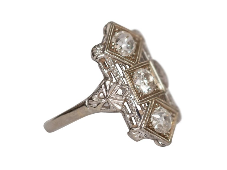 Old European Cut .65 Carat Art Deco Diamond 18 Karat White Gold Engagement Ring For Sale