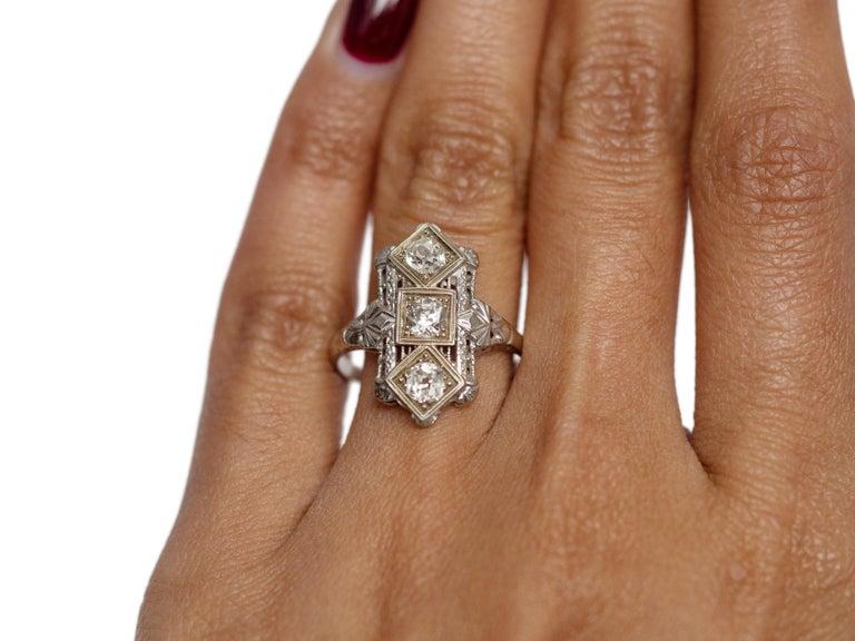 Women's .65 Carat Art Deco Diamond 18 Karat White Gold Engagement Ring For Sale