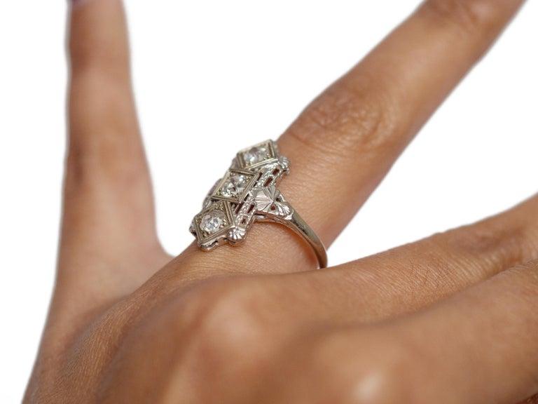 .65 Carat Art Deco Diamond 18 Karat White Gold Engagement Ring For Sale 1