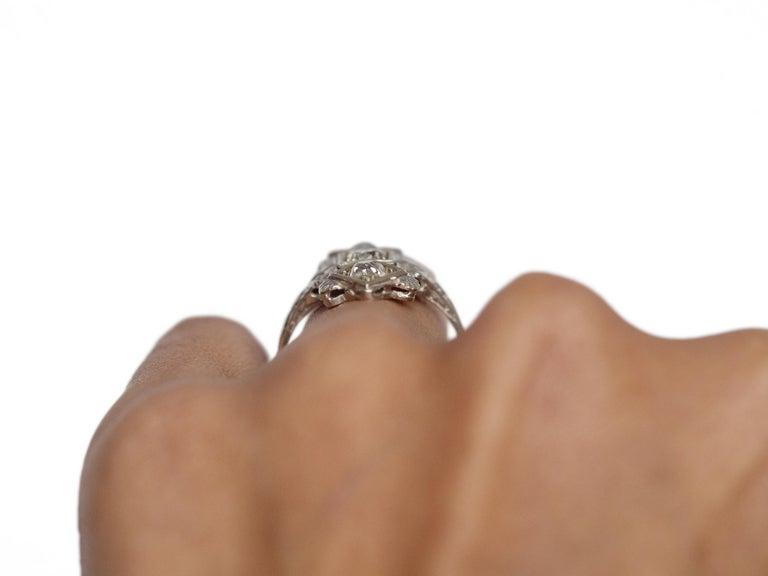 .65 Carat Art Deco Diamond 18 Karat White Gold Engagement Ring For Sale 2