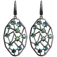 6.5 Carat Bi-Color Marriage Sapphire Diamonds 14 Karat Gold Earrings
