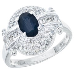 .65 Carat Blue Sapphire Diamond Halo White Gold Cocktail Ring