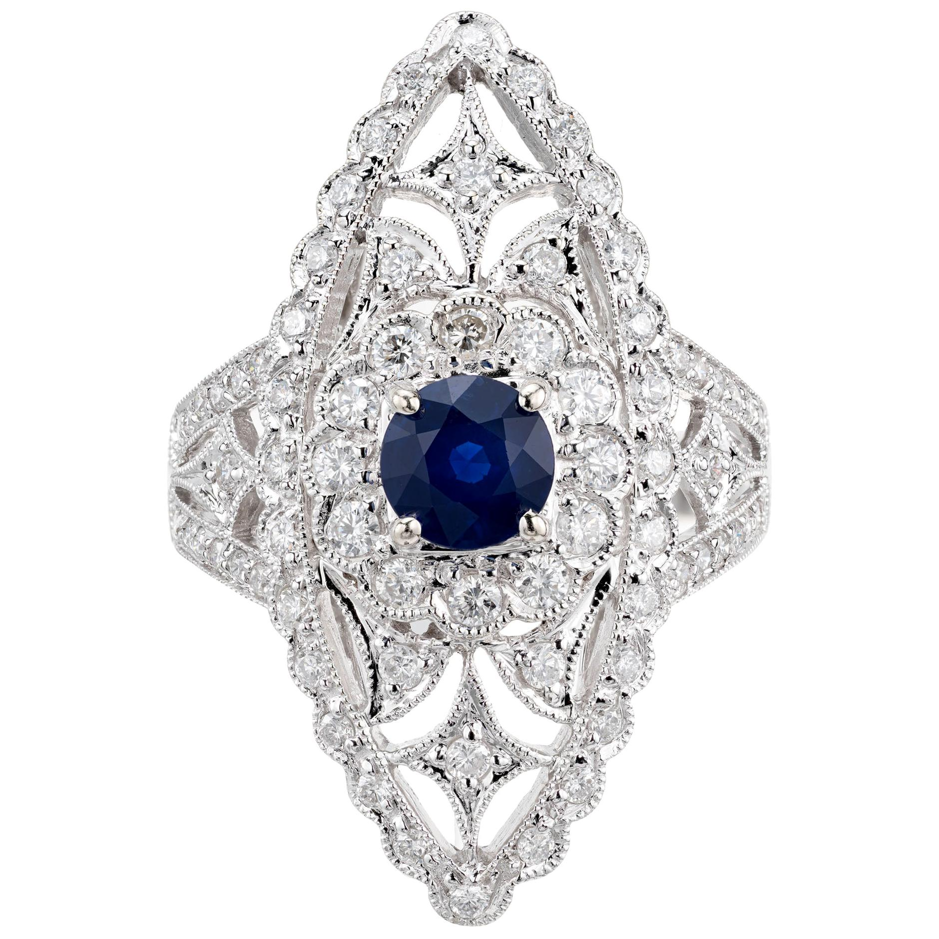 .65 Carat Blue Sapphire Diamond White Gold Cocktail Ring