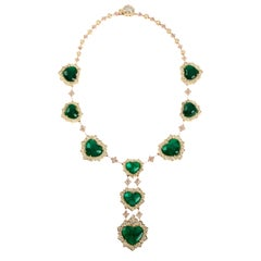 65 Carat Certified Swiss Lab Colombian Emerald Yellow Gold and Diamond Necklace