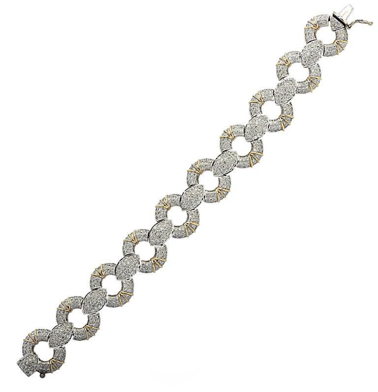 Round Cut 6.5 Carat Diamond Pave' Bracelet For Sale