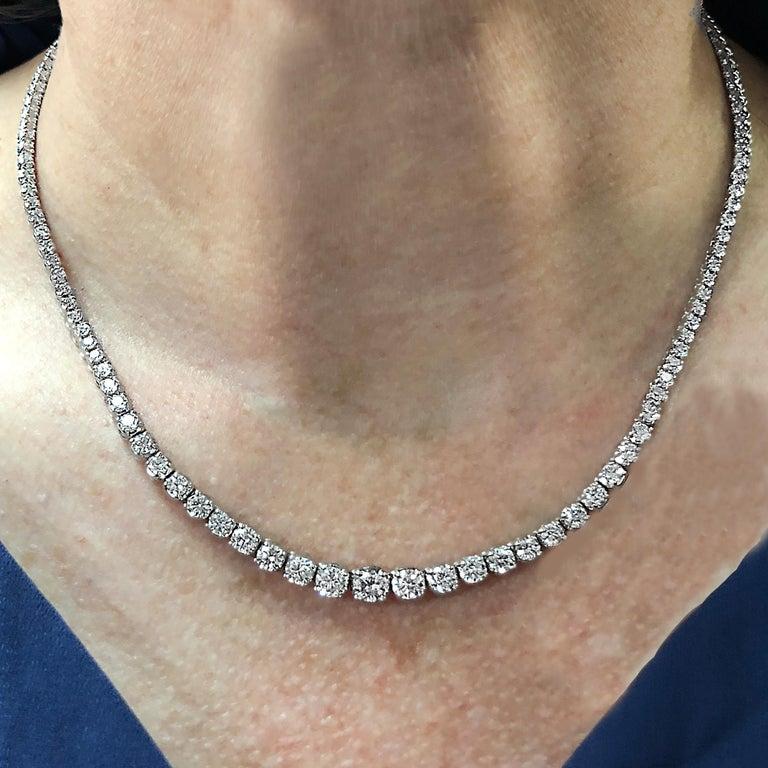 Modern 6.5 Carat Diamond Riviere Necklace