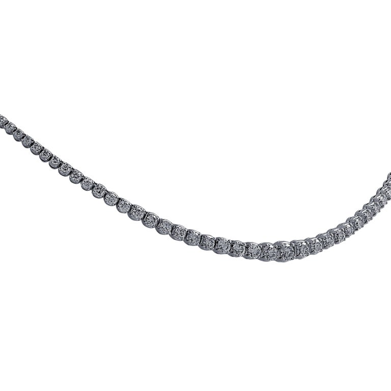 Round Cut 6.5 Carat Diamond Riviere Necklace