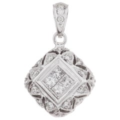 .65 Carat Diamond White Gold Dome Pendant