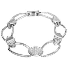 .65 Carat Diamond White Gold Oval Link Bracelet