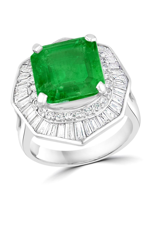 6.5 Carat Emerald Cut Colombian Emerald and 2.4 Carat Diamond Ring Platinum For Sale 8