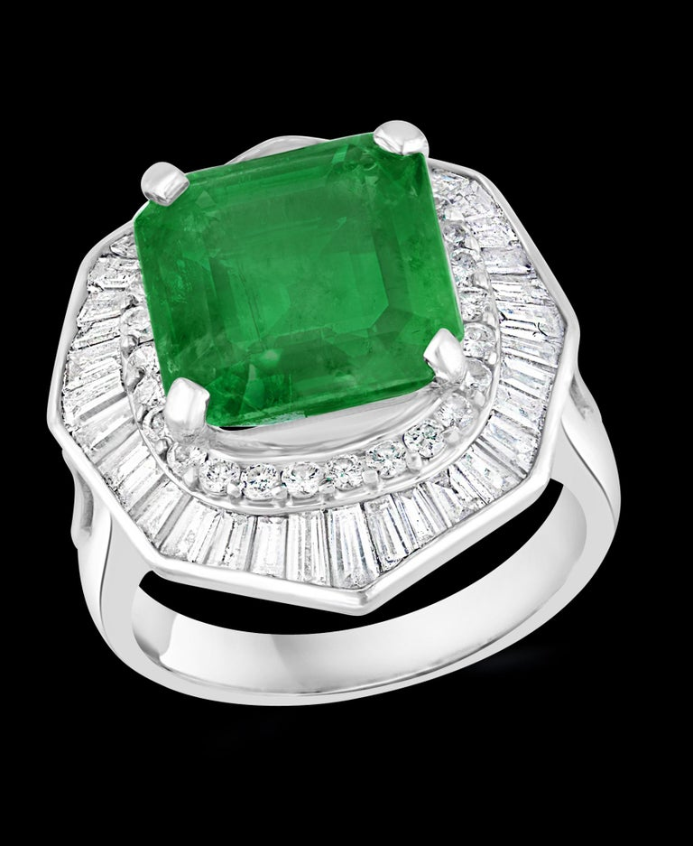 6.5 Carat Emerald Cut Colombian Emerald and 2.4 Carat Diamond Ring Platinum For Sale 9