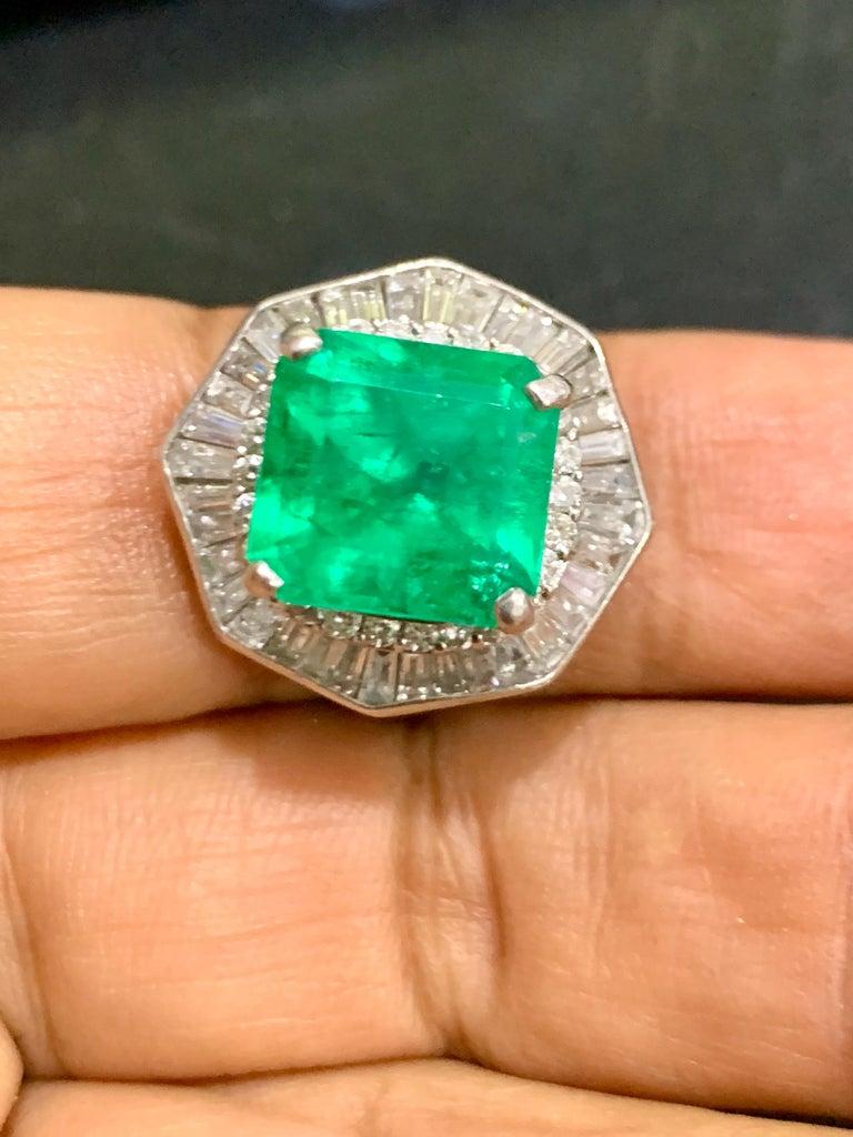 Women's 6.5 Carat Emerald Cut Colombian Emerald and 2.4 Carat Diamond Ring Platinum For Sale