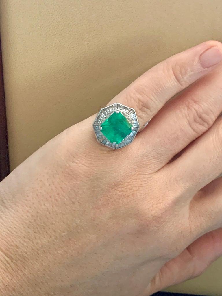 6.5 Carat Emerald Cut Colombian Emerald and 2.4 Carat Diamond Ring Platinum For Sale 1