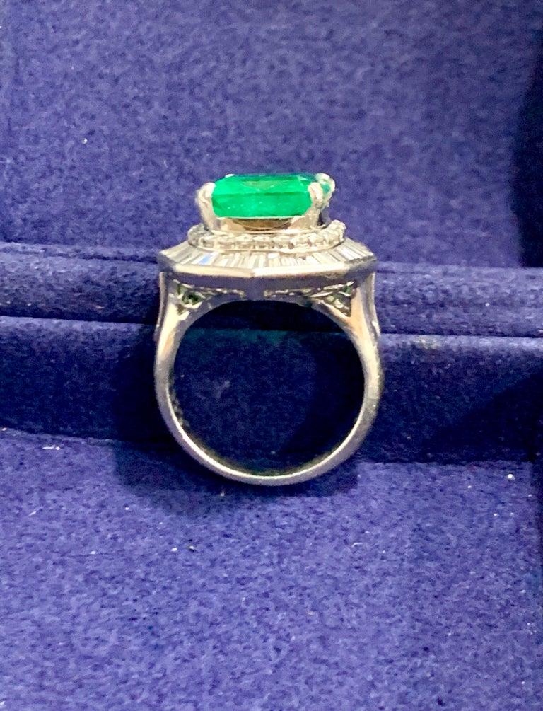 6.5 Carat Emerald Cut Colombian Emerald and 2.4 Carat Diamond Ring Platinum For Sale 5