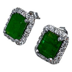 6.5 Carat Emerald Cut Emerald & 1.25 Ct Diamond Stud Earrings 14 Kt White Gold