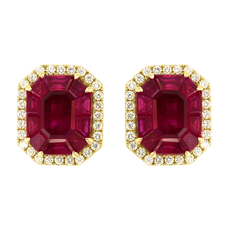 6.5 Carat Natural Burma Ruby and Diamond Earring in 18 Karat Yellow Gold