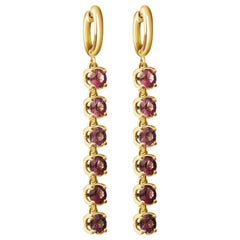 6.5 Carat Natural Lilac Spinel 14 Karat Yellow Gold Hoop Earrings