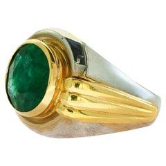 6.5 Carat Oval Cut Emerald in 18 Karat Two-Tone Gold Ring Estate