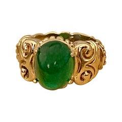 6.5 Carat Oval Emerald Cabochon 14 Karat Yellow Gold Cocktail Ring Vintage