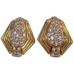 6.5 Carat VVS1 F Color Diamond Clip-On or Pierced Earrings 18 Karat Yellow Gold
