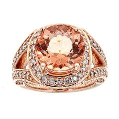6.5 CT Morganite and 1.0 Diamond Ring in 14 Karat Rose Gold