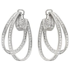 Diamond Hoop Earrings, Oval Shape, Easy to Wear Fittings in 18 K White Gold