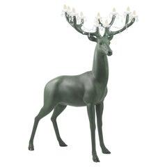 6.5 Feet Tall Forest Green Sherwood Deer Chandelier by Marcantonio