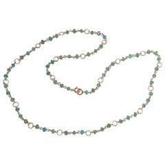 6.5 Karat Emeralds 18 Karat Yellow GoldTwisted Links Chain Beaded Necklace