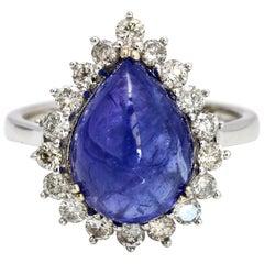 6.50 Carat 14 Karat White Gold Pear Cabochon Tanzanite Diamond Ring