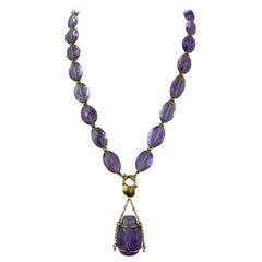 650 Carat Amethyst and Gold Beaded Necklace