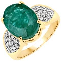 6.50 Carat Brazilian Emerald and Diamond 14 Karat Yellow Gold Cocktail Ring