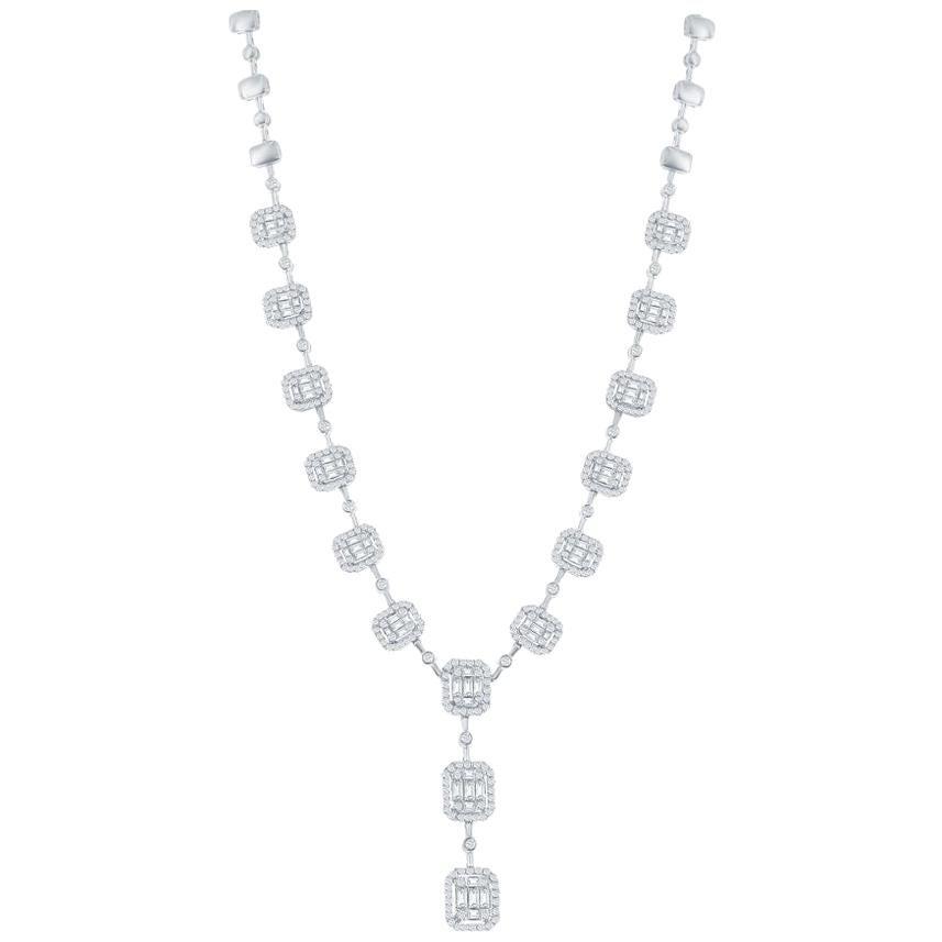 6.50 Carat Diamond Emerald Cut Necklace 18 Karat White
