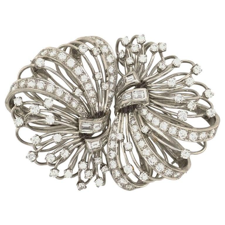 6.50 Carat Diamond Platinum and 14 Karat Double Clip Brooch For Sale 6